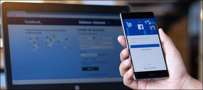 Signing into a Facebook account on a phone.