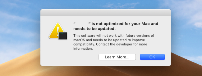 The 32-bit app warning message on macOS Mojave.