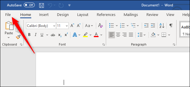 Opening the File menu in Microsoft Word.