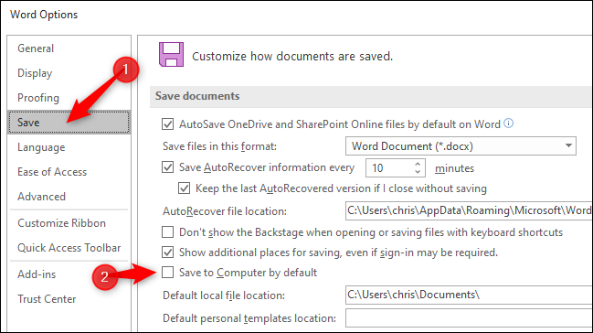 Saving documents to the local computer by default in Microsoft Word.