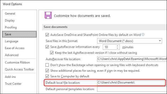 Choosing a default save folder for documents in Microsoft Word.