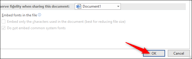 Clicking the OK button to save your changes in Word's options window.