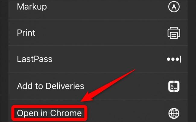 iOS iPadOS Share Sheet Open in Chrome