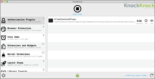 KnockKnock Persistant Software Checker for Mac.