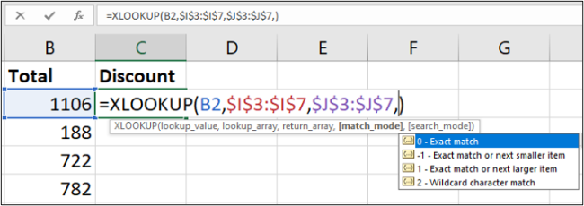 Match mode option in XLOOKUP