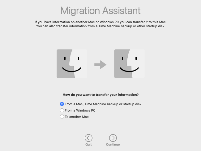 The macOS Migration Assistant pane.