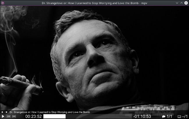 A scene from a film in the MPV app for Mac.