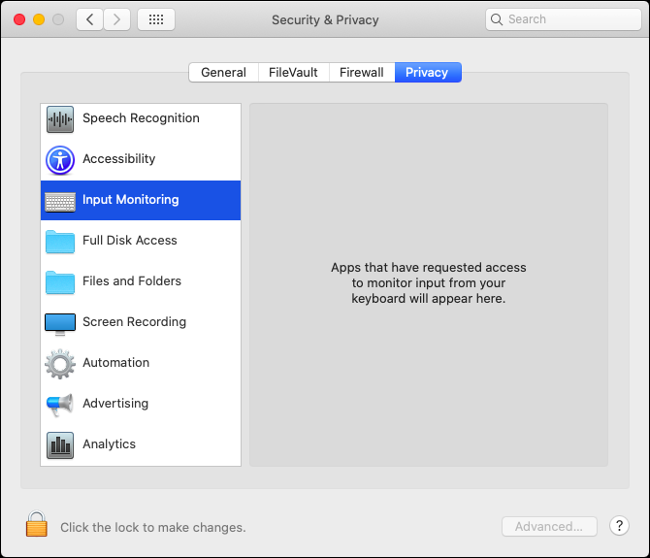 """The """"Input Monitoring"""" menu in the Security and Privacy Settings in macOS Catalina."""