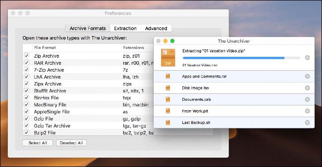 El Unarchiver extrayendo un archivo ZIP en una Mac.