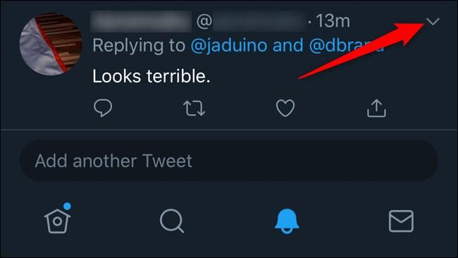 Twitter Mobile Hide Replies Click Down Arrow