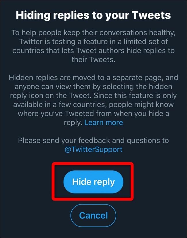 Twitter Mobile Hide Replies Pop-up Dialog