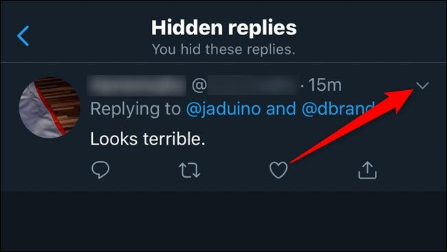 Twitter Mobile Unhide Replies Click Down Arrow