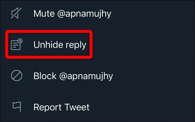 Twitter Mobile Unhide Replies Click Unhide Reply