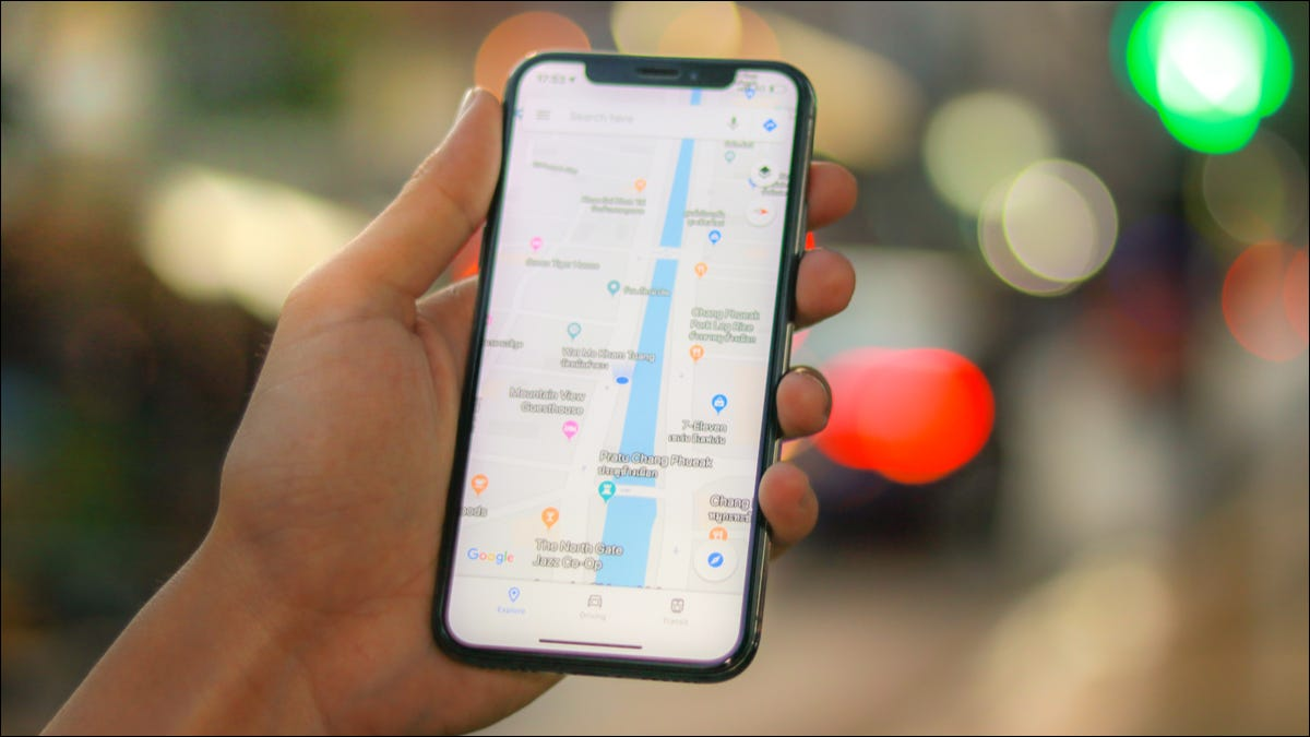 Someone viewing a location in Google Maps on iPhone