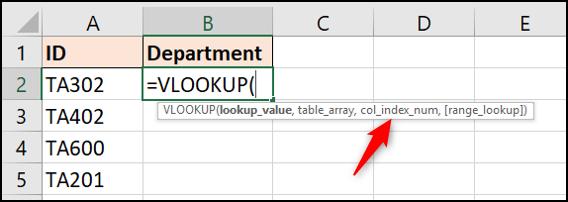The column index number argument of VLOOKUP