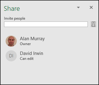 The Share pane with a list of people a workbook was shared with.