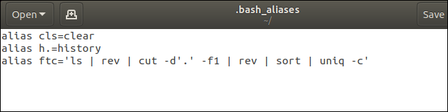 gedit editor with .bash_aliases loaded into it