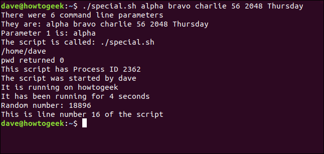 """""""./special.sh alpha bravo charlie 56 2048 Thursday"""" in a terminal window."""