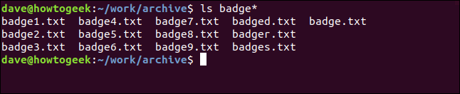 """An """"ls badge*"""" command in a terminal window."""