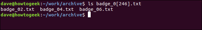 """An """"ls badge_0[246].txt"""" command in a terminal window."""