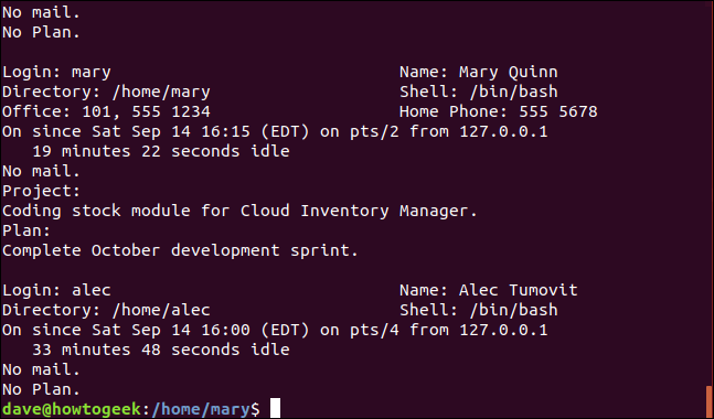 Output from the finger long listing command in a terminal window