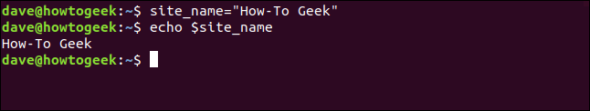 "site_name=""How-To Geek"" in a terminal window."
