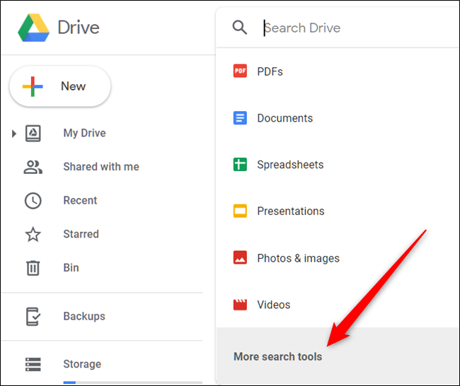 "Click the search box, and then click ""More Search Tools"" to refine the search even further."