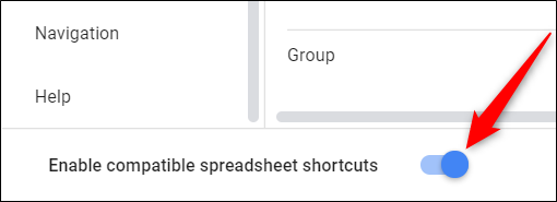 "Click the toggle next to ""Enable compatible spreadsheet keyboard shortcuts"" to on."