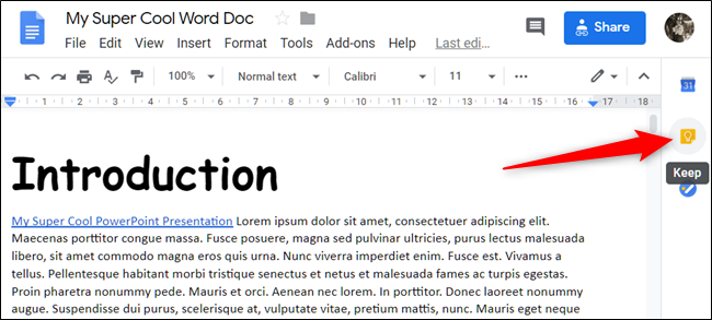Open a document and click the Keep icon on the right side of the page.