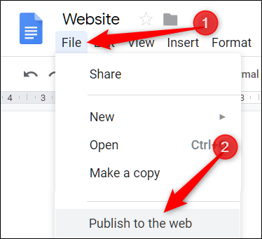 """Click """"File,"""" and then select """"Publish to the Web."""""""