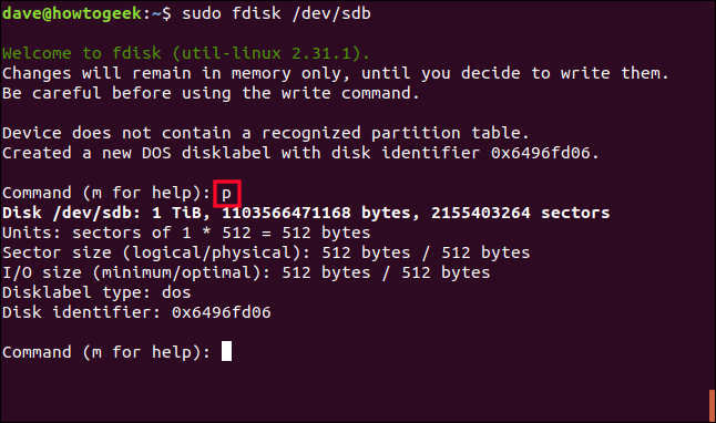 sudo fdisk /dev/sdb in a terminal window