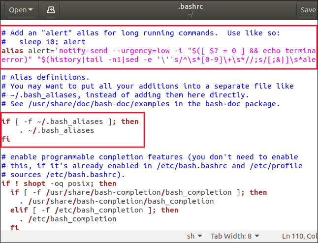 gedit with .bashrc loaded into it, and the .bash_aliases section highlighted