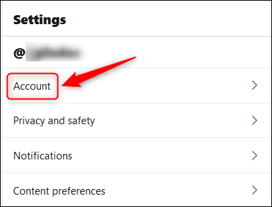 The Settings menu with the Account option highighted.