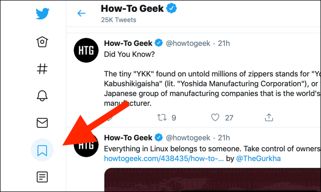 Click on the Bookmarks button in the sidebar to open the Bookmarks page