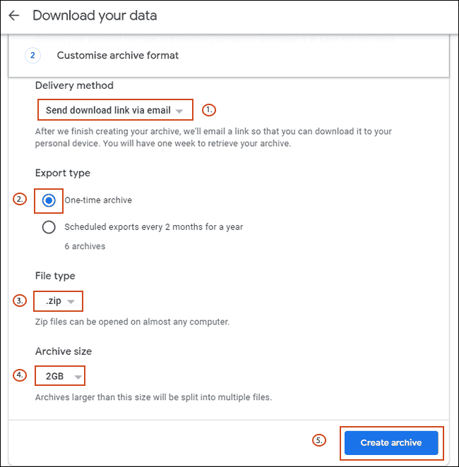 Confirm your data archive options