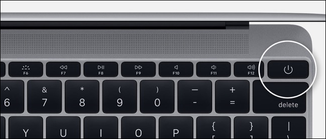 Power button on MacBook Pro without touch bar
