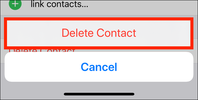 Tap on Delete Contact from the popup