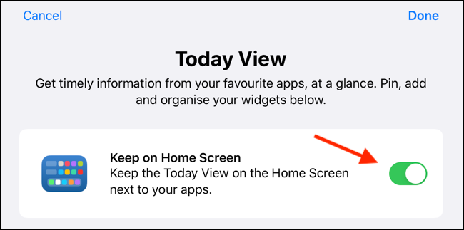Tap the switch to enable widgets on the home screen