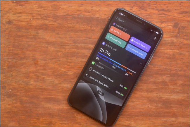Widgets screen in dark mode in iOS 13