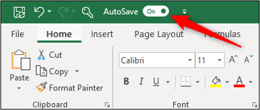 "The AutoSave feature in the ""On"" position in Excel."
