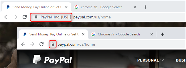 Comparing EV indicators in Chrome 76 and Chrome 77.