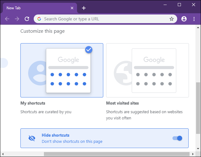 Selecting a preference for the New Tab page's shortcuts in Chrome.