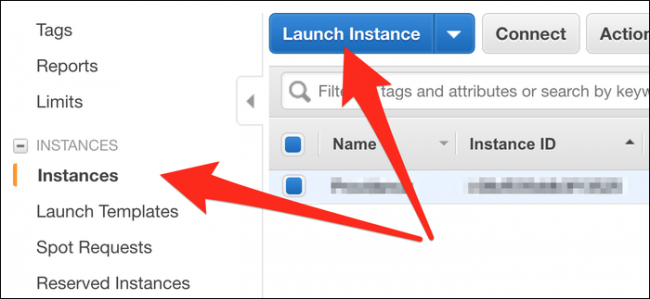 "Click ""Instances,"" and then select ""Launch Instance."""