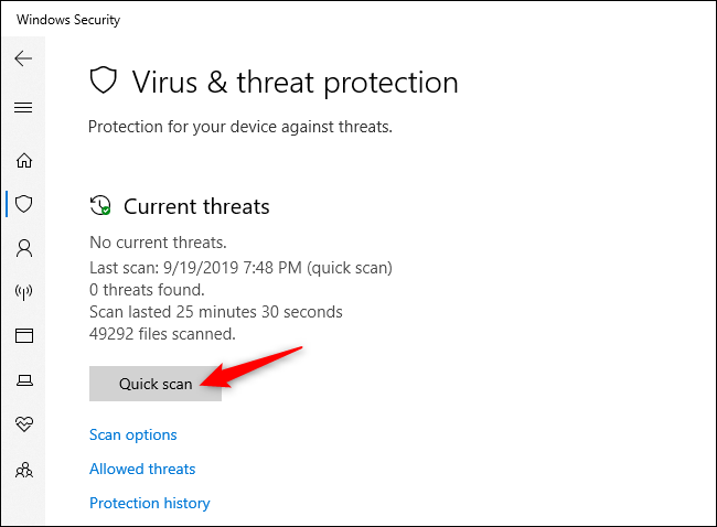 Manually scanning for viruses and other malware in Windows Security.