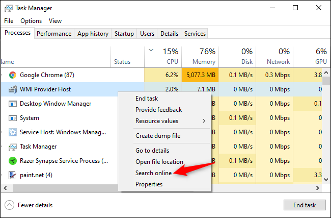 Searching for a process's name online from the Windows Task Manager.