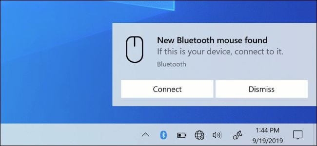 A Bluetooth Swift Pair notification on Windows 10's desktop.