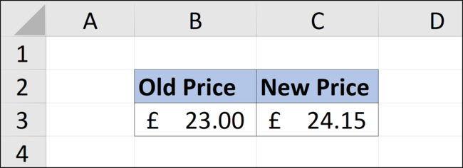 Increasing a value by five percent in an Excel spreadsheet.