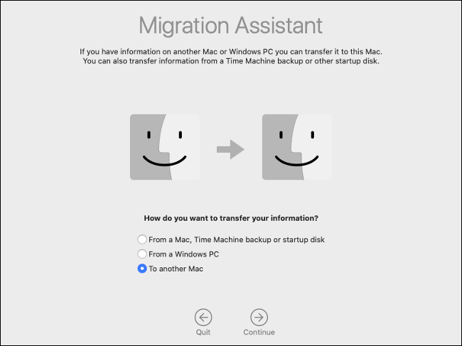 "Select ""To Another Mac"" in Migration Assistant."