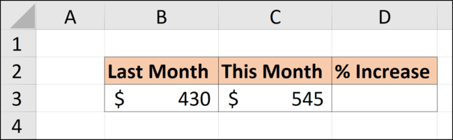 Data in an Excel spreadsheet to calculate a percentage of increase.
