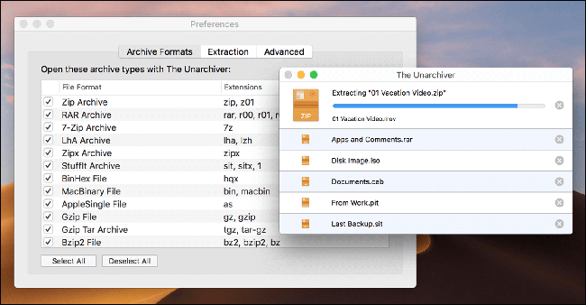 The Unarchiver extracting a ZIP file on a Mac.